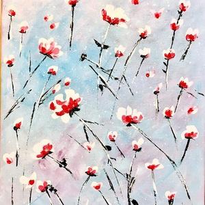 Virágeső, Művészet, Festmény, Akril, Festészet, Festett tárgyak, Feszített vászonra festett-akrillal-, vidám, virágos kép. Mérete: 30x25cm, Meska