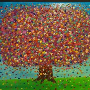Virágzó fa, Művészet, Festmény, Akril, Festett tárgyak, Festészet, Akril festékkel készült festmény, feszített vászonra. Méret: 25x30cm, Meska