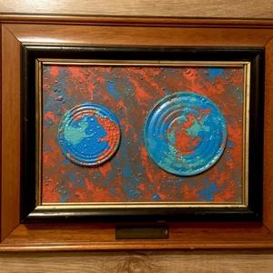 Keveredés, Művészet, Festmény, Festmény vegyes technika, Festett tárgyak, Festészet, Fluid art technikával készített kép. Egy régi keretbe lett beletéve. A keret jár a képhez.\nMéretei: ..., Meska