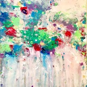 Tavasz, Művészet, Festmény, Akril, Festett tárgyak, Festészet, Akrilfestékkel, festőkéssel és festékfolyatással készült kép, feszített vászonra. Mérete: 25x30cm..., Meska