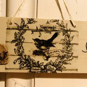 Vintage stílusú madárkás dekor tábla  - Meska.hu