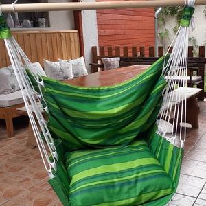 Függőhinta - zöld, Textil függőszék zöld színben, segít ellazulni és kipihenni a mindennapi fáradalmakat.\nAnyaga bútorv..., Meska