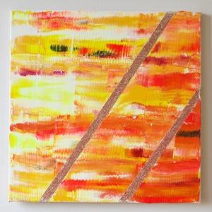 No. 6 - sárga és narancssárga, Művészet, Festmény, Akril, Festett tárgyak, Festészet, 50x50-es feszített vászonra akrillal és csillámporral festettem ezt a modern stílusú hangulatképet, ..., Meska