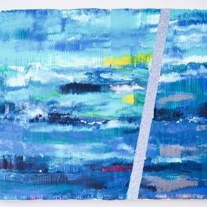 No. 10 - sötétkék és világoskék, Művészet, Festmény, Akril, Festett tárgyak, Festészet, 40x50-es feszített vászonra akrillal és csillámporral festettem ezt a modern stílusú hangulatképet, ..., Meska