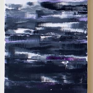 No. 16 - fekete és lila, Művészet, Festmény, Akril, Festészet, 30x40-es feszített vászonra akrillal és csillámporral festettem ezt a modern stílusú hangulatképet, ..., Meska