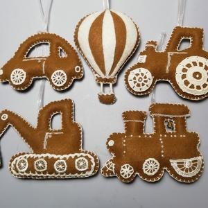 Filc mézes járművek, Karácsony, Karácsonyi lakásdekoráció, Karácsonyi lakásdíszek, Varrás, Meska