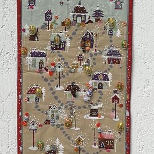 Adventi naptár, Karácsony & Mikulás, Adventi naptár, Varrás, Kedves téli falikép, mely  így önmagában is kedves dísze a szobának, de  24 szám és a mellette lévő ..., Meska