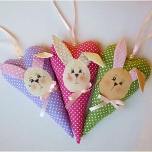AKció!! Nyuszis dekorációs szív (rózsaszín-fehér  pöttyös)  (pannika) - Meska.hu