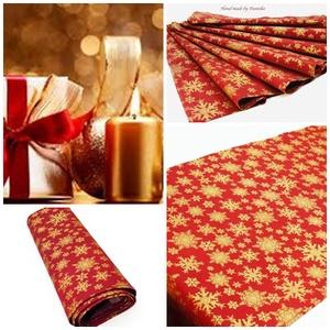 Karácsonyi asztalterítő, asztali futó ( Arany pelyhek ), Karácsonyi dekoráció, Karácsony & Mikulás, Otthon & Lakás, Varrás, Minőségi, vászon anyagból készült hópehely mintás terítő, futó karácsonyra.\nGyönyörű ünnepi dísz, de..., Meska