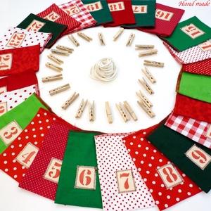 Adventi naptár  zsákocskák (olcsóbban!), Adventi naptár, Karácsony & Mikulás, Otthon & Lakás, Patchwork, foltvarrás, Varrás, Adventváró zsákocskáimat színes vásznakból készítettem.\nAz elejükön a számok kézzel festettek.\nPöttö..., Meska