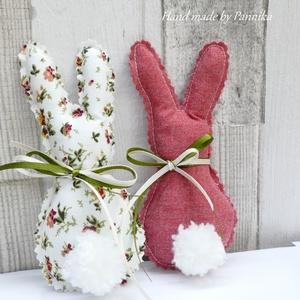 Két, húsvéti textil nyuszi, pom-pom farokkal (mályva-rózsa) (pannika) - Meska.hu