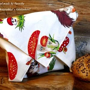 Öko szendvics-csomagolás (Gombás, sünis textilszalvéta), NoWaste, Textilek, Textil tároló, Táska, Divat & Szépség, Varrás, NoWaste!  Hulladék mentes szendvics-csomagolás. Öko szalvéta.\nGombácskás, sünis mintás textil szalvé..., Meska