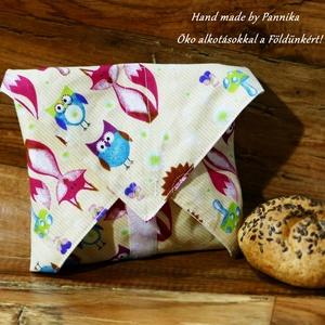 Öko szendvics-csomagolás (rókás, baglyos textilszalvéta), NoWaste, Textilek, Textil tároló, Táska, Divat & Szépség, Varrás, NoWaste!  Hulladék mentes szendvics-csomagolás. Öko szalvéta.\nRókás, süni mintás textil szalvéta, ví..., Meska