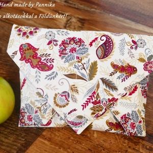 Öko szendvics-csomagolás (Gyönyörű virágok vízálló textilszalvéta), NoWaste, Textilek, Textil tároló, Táska, Divat & Szépség, Varrás, NoWaste!  Hulladék mentes szendvics-csomagolás. Öko szalvéta. TÖBB PONTON ZÁRÓDÓ!\nVirágos kasmír min..., Meska