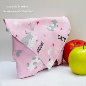 Öko szendvics-csomagolás (Cicás vízálló rózsaszín textilszalvéta), NoWaste, Textilek, Textil tároló, Táska, Divat & Szépség, Varrás, NoWaste!  Hulladék mentes szendvics-csomagolás. Öko szalvéta.\nCica mintás textil szalvéta, vízhatlan..., Meska