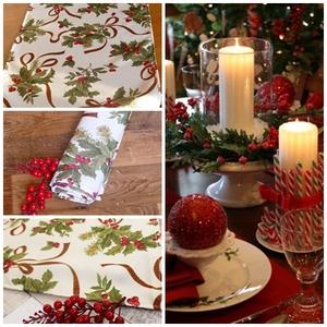 Karácsonyi Víztaszító! asztalterítő, asztali futó ( magyalos,masnis), Otthon & lakás, Lakberendezés, Lakástextil, Dekoráció, Ünnepi dekoráció, Terítő, Varrás, Minőségi, VÍZTASZÍTÓ anyagból készült mintás terítő, futó karácsonyra.\nGyönyörű ünnepi dísz, de akár..., Meska