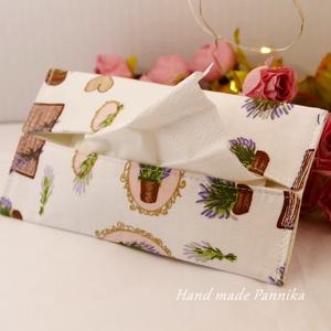 Zsebkendőtartó levendulás diszekkel, Táska, Divat & Szépség, Táska, NoWaste, Textilek, Patchwork, foltvarrás, Varrás, Textilből készült papír-zsebkendő tartó, amit minőségi  vászonból készítettem.\nNagyon praktikus dara..., Meska