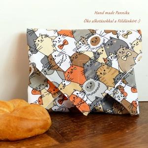 ÖKO szendvics-csomagolás (narancs cicák vízálló textilszalvéta), NoWaste, Textilek, Textil tároló, Táska, Divat & Szépség, Varrás, NoWaste!  Hulladék mentes szendvics-csomagolás. Öko szalvéta. TÖBB PONTON ZÁRÓDÓ!\nSzínes cica mintás..., Meska