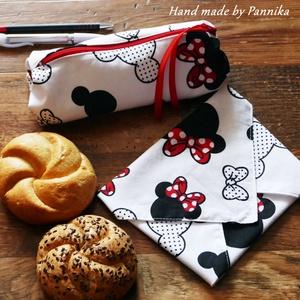 Szett: Tolltartó és Öko szendvics-csomagolás (Minnie mintás), Szendvics csomagoló, Uzsonna- & Ebéd tartó, Táska & Tok, Varrás, NoWaste!  Hulladék mentes szendvics-csomagolás. Öko szalvéta és tolltartó\nAranyos kis Minnie mintás ..., Meska