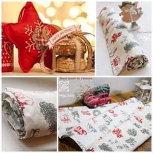 Karácsonyi asztalterítő, asztali futó, mintás szövet, Karácsony & Mikulás, Karácsonyi dekoráció, Varrás, Minőségi, szövet anyagból készült mintás terítő, futó karácsonyra.\nGyönyörű ünnepi dísz, de akár ajá..., Meska