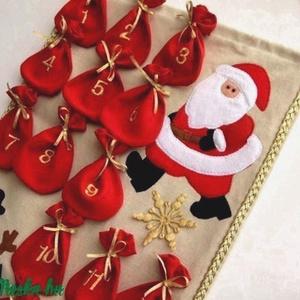 Akciós! Adventi naptár, Karácsony & Mikulás, Karácsonyi dekoráció, Patchwork, foltvarrás, Varrás, Nappali, vagy a gyerekszoba ékes dísze lehet ez az adventi naptár. \nMinden napra más-más meglepetést..., Meska