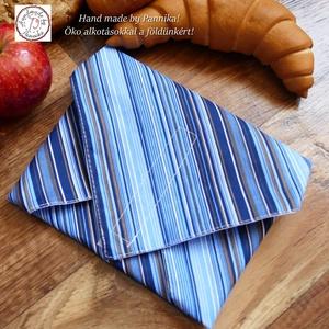 Akció 1800 helyett...Öko szendvics-csomagolás, újraszalvéta (Kék csíkos vízálló textilszalvéta), Táska & Tok, Uzsonna- & Ebéd tartó, Szendvics csomagoló, Varrás, NoWaste!  Hulladék mentes szendvics-csomagolás. Öko szalvéta, újraszalvéta.\nNagyon szép, kék csíkos ..., Meska