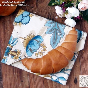 1800Ft helyett...Öko szendvics-csomagolás (Virágos vízálló textilszalvéta), Táska & Tok, Uzsonna- & Ebéd tartó, Szendvics csomagoló, Varrás, NoWaste!  Hulladék mentes szendvics-csomagolás. Öko szalvéta.\nVirág mintás textil szalvéta, vízhatla..., Meska