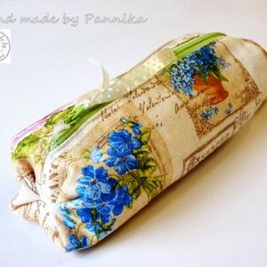 AkciÓ!  Virágos tolltartó, bármit-tartó , Tolltartó & Ceruzatekercs, Papír írószer, Otthon & Lakás, Patchwork, foltvarrás, Varrás, Gyönyörű virágokkal díszített tolltartó. \nPamutvászonból, vetex erősítéssel, drapp béléssel készült...., Meska