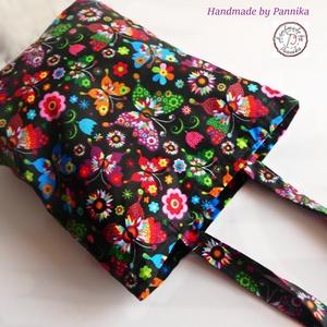 Bevásárló szatyor, amit hajtogass be a táskádba és legyen mindíg kéznél! Virágmintás, Táska & Tok, Bevásárlás & Shopper táska, Shopper, textiltáska, szatyor, Varrás, Meska