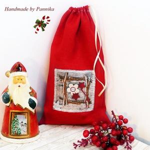 OLCSÓN! Mikulászsák vintage karácsonyi rátéttel, Karácsony, Mikulás, Mikulás zsák, zokni, csizma, Varrás, Meska