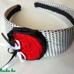 Piros-virágos hajpánt  (pannika) - Meska.hu