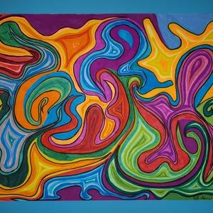 Anna\'s rajz(6), Otthon & lakás, Képzőművészet, Lakberendezés, Fotó, grafika, rajz, illusztráció, Az eladásra kínált egyedi művészi alkotás, színes világával, és mondandójával egyedi és különleges d..., Meska