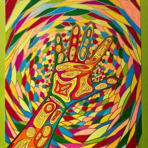Anna\'s rajz(9), Otthon & lakás, Képzőművészet, Lakberendezés, Falikép, Fotó, grafika, rajz, illusztráció, Az eladásra kínált egyedi művészi alkotás, színes világával, és mondandójával egyedi és különleges d..., Meska