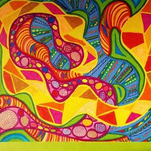 Anna\'s rajz(10), Grafika & Illusztráció, Művészet, Fotó, grafika, rajz, illusztráció, Az eladásra kínált egyedi művészi alkotás, színes világával, és mondandójával egyedi és különleges d..., Meska
