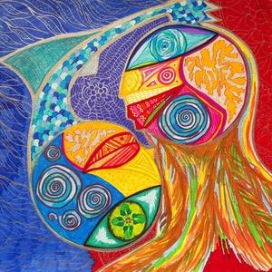 Anna\'s rajz(12), Otthon & lakás, Képzőművészet, Lakberendezés, Falikép, Fotó, grafika, rajz, illusztráció, Az eladásra kínált egyedi művészi alkotás, színes világával, és mondandójával egyedi és különleges d..., Meska