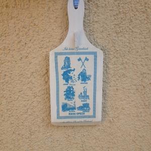 Görög motívumos üzenőtábla, Dekoráció, Otthon & lakás, Lakberendezés, Decoupage, transzfer és szalvétatechnika, Decoupage technikával készült üzenőtábla,amely egyedi mintával készült. A kis facsipesz segítségével..., Meska