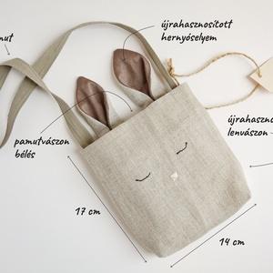 Nyuszitáska, táska, válltáska, újrahasznosított lenvászonból, 14x17 cm (Papics) - Meska.hu