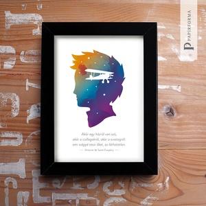 Ami széppé teszi..., Otthon & lakás, Képzőművészet, Illusztráció, Lakberendezés, Gyerek & játék, Fotó, grafika, rajz, illusztráció, Exupéry idézetes illusztráció akvarell papíron, digitális nyomat, keretben. Falra helyezhető és polc..., Meska