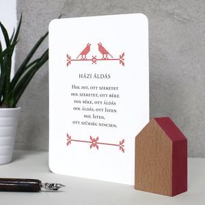 Piros házikó idézetes kártyával, Esküvő, Emlék & Ajándék, Köszönőajándék, Fotó, grafika, rajz, illusztráció, Famegmunkálás, Bükkfa házikó (piros), idézetes kártyával (válassz a megadott mintákból).\nHázikó mérete: 3,5*6*2,5 c..., Meska