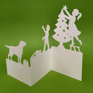 Segítők_karácsonyi képeslap, Karácsony & Mikulás, Karácsonyi képeslap, Papírművészet, Egyedi illusztrációval készült - karácsonyi hangulatú -áttört mintás képeslap, dekoráció, borítékkal..., Meska