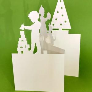 Építőkocka_karácsonyi képeslap, Karácsony & Mikulás, Karácsonyi képeslap, Papírművészet, Egyedi illusztrációval készült - karácsonyi hangulatú -áttört mintás képeslap, dekoráció, borítékkal..., Meska