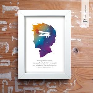 Kis herceg - Ami széppé teszi... nyomat keretben, 13x18 cm, Művészet, Grafika & Illusztráció, Fotó, grafika, rajz, illusztráció, Exupéry idézetes illusztráció akvarell papíron, digitális nyomat, keretben. Falra helyezhető és polc..., Meska