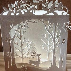 Téli táj - árnyékdoboz, Karácsony & Mikulás, Karácsonyi képeslap, Varázslatos téli, térbeli erdőt hoztam, árnyékdoboz formában. Mérete kb 15x18x7cm  Teljesen síkra ha..., Meska