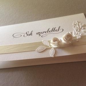 Zsebes-virágos, Esküvő, Nászajándék, Otthon & lakás, Naptár, képeslap, album, Képeslap, levélpapír, Papírművészet, Virágos-minimál zsebes lapommal stílusosan oldhatod meg pénzajándékod-nászajándékod átadását. A szám..., Meska