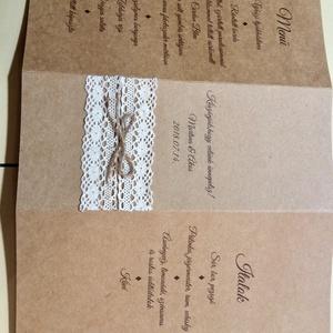 Rusztikus menükártya-asztalszám, Esküvő, Meghívó & Kártya, Menü, Papírművészet, Natúr-rusztikus esküvőkhöz illő állítható, három oldalas menükártyát készítettem, melynek egyik olda..., Meska