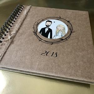 Rusztikus fényképalbum vagy/és esküvői vendégkönyv, Album & Fotóalbum, Papír írószer, Otthon & Lakás, Papírművészet, Rusztikus-modern, egyedi menyasszony-vőlegény grafikával készült, nevekkel-évszámmal feliratozható, ..., Meska