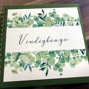 Greenery vendégkönyv, Otthon & Lakás, Papír írószer, Album & Fotóalbum, Papírművészet, Zöldike, greenery vendégkönyvet készítettem, a felirat készülhet a pár neveivel .\n\nMérete 21x21cm, k..., Meska