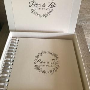 Esküvői logós  fényképalbum díszdobozzal , Nászajándék, Emlék & Ajándék, Esküvő, Papírművészet, Könyvkötés, Esküvői logóval készült spirálkötésű fotóalbum, méretben és díszítésben hozzáillő díszdobozban. \nA l..., Meska
