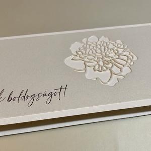 Zsebes-virágos, Esküvő, Emlék & Ajándék, Nászajándék, Papírművészet, Virágos-minimál zsebes lapommal stílusosan oldhatod meg pénzajándékod-nászajándékod átadását. A szám..., Meska