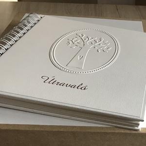 Vendégkönyv, polaroid fotókönyv, Domborított fa motívummal, Spirálozott, Egyedi, Névvel ellátott, Esküvő, Vendégkönyv, Emlék & Ajándék, Kemény borítós, fém spirállal fűzött vendégkönyv,  írható lapokkal, a vásárláskor megadott szövegezé..., Meska